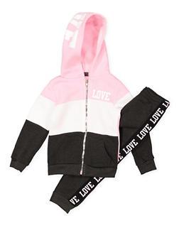 Girls 4-6x Love Zip Up Sweatshirt with Sweatpants - 3622038340041