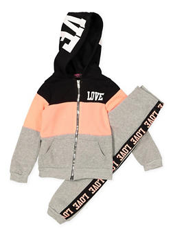 Girls 4-6x Love Color Block Sweatshirt with Sweatpants - 3622038340041