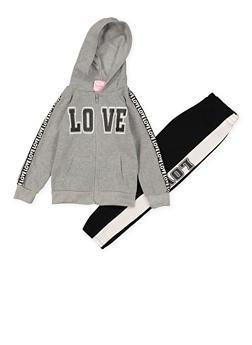 Girls 4-6x Love Hooded Sweatshirt and Sweatpants - 3622038340042
