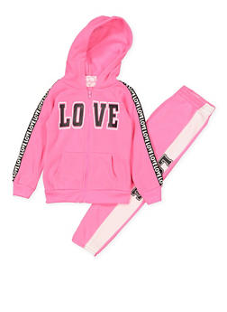Girls 4-6x Love Hooded Sweatshirt and Sweatpants - 3622038340042