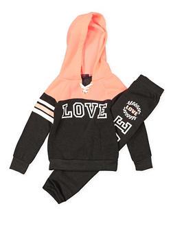 Girls 4-6x Love Pullover Sweatshirt with Sweatpants - 3622038340044