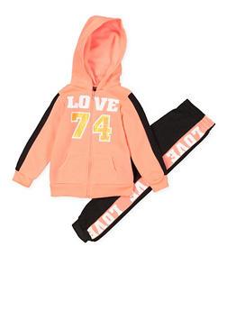Girls 4-6x Love Zip Sweatshirt and Joggers Set - 3622038340045