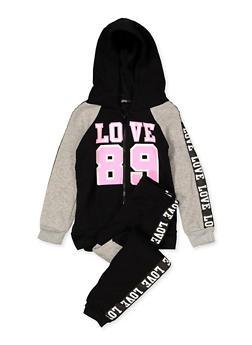 Girls 4-6x Love Tape Sweatshirt and Joggers - 3622038340052