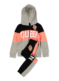 Girls 4-6x Queen Zip Sweatshirt and Joggers Set - 3622038340054