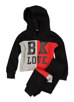 Girls 4-6x BK Love Color Block Sweatshirt and Joggers - 3622038340057