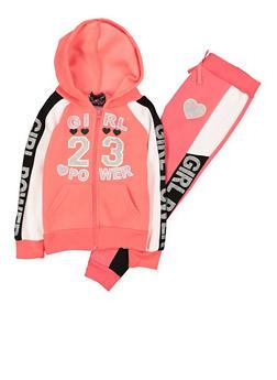 Girls 4-6x Girl Power Sweatshirt and Joggers Set - 3622054730040