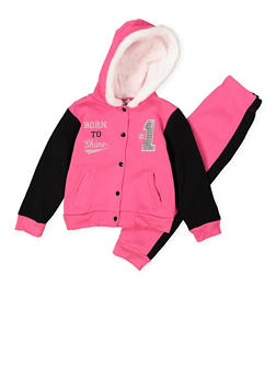 Girls 4-6x Sequin Graphic Sweatshirt and Sweatpants Set - 3622054730050