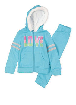 Girls 4-6x Love Graphic Sweatshirt and Sweatpants Set - 3622054730051