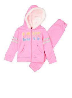 Girls 4-6x Love Graphic Sweatshirt and Sweatpants Set - 3622054730051