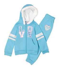 Girls 4-6x Love Graphic Sweatshirt and Sweatpants Set - 3622054730052