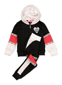 Girls 4-6x Love Heart Sweatshirt and Sweatpants Set - 3622056720001