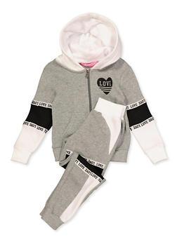 Girls 4-6x Love Heart Sweatshirt with Sweatpants - 3622056720002