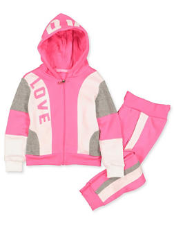 Girls 4-6x Color Block Love Sweatshirt and Joggers - 3622056720003