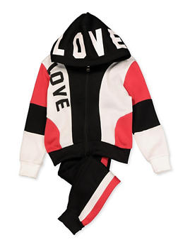Girls 4-6x Color Block Love Sweatshirt and Sweatpants - 3622056720004