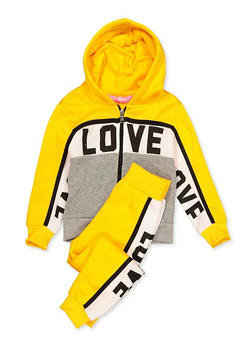 Girls 4-6x Love Color Block Sweatshirt and Sweatpants - 3622056720005
