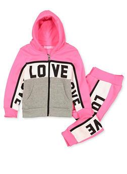 Girls 4-6x Love Zip Front Sweatshirt with Joggers - 3622056720006