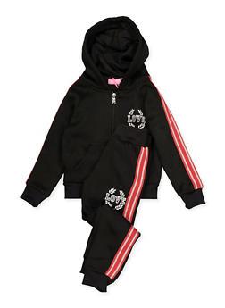 Girls 4-6x Love Queen Sweatshirt and Sweatpants Set - 3622056720008