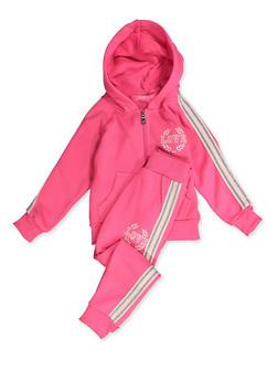 Girls 4-6x Love Zip Fleece Sweatshirt and Sweatpants - 3622056720009
