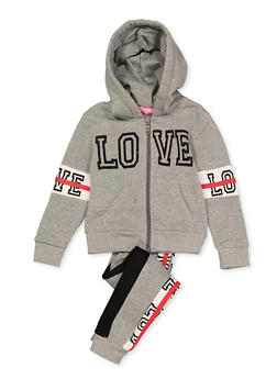 Girls 4-6x Love Contrast Trim Sweatshirt and Sweatpants - 3622056720010