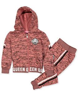 Girls 4-6x Queen Logo Marled Sweatshirt and Joggers Set - 3622056720012