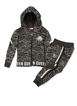Girls 4-6x Queen Graphic Zip Sweatshirt and Joggers - 3622056720013