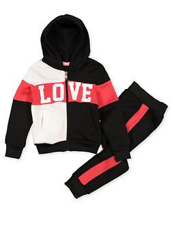 Girls 4-6x Love Color Block Zip Sweatshirt and Joggers - 3622056720014