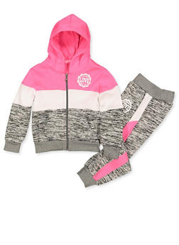 Girls 4-6x Love Logo Marled Sweatshirt with Joggers - 3622056720016