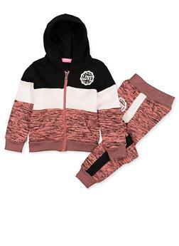 Girls 4-6x Love Logo Marled Sweatshirt and Joggers Set - 3622056720017