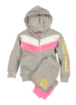 Girls 4-6x Good Vibes Sweatshirt and Joggers Set - 3622056990001