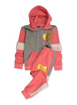 Girls 4-6x Grl Hero Sweatshirt and Sweatpants - 3622056990002