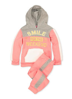 Girls 4-6x Smile for the Weekend Sweatshirt with Joggers - 3622056990006