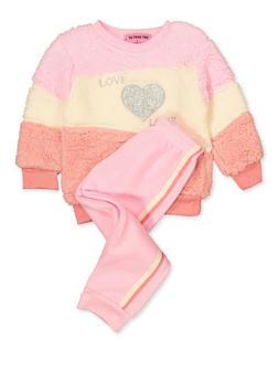 Girls 4-6x Love Sherpa Sweatshirt and Joggers Set - 3622056990010
