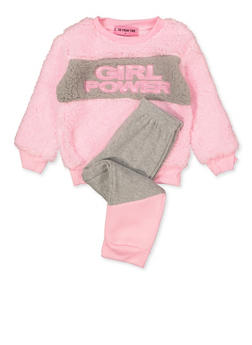 Girls 4-6x Girl Power Sherpa Sweatshirt and Joggers Set - 3622056990011