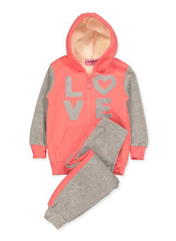 Girls 4-6x Glitter Love Sweatshirt and Joggers - 3622056990015