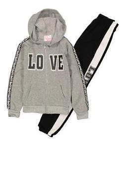 Girls 7-16 Love Graphic Sweatshirt and Sweatpants - 3623038340001