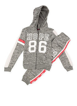 Girls 7-16 Graphic Zip Up Sweatshirt and Sweatpants - 3623038340005