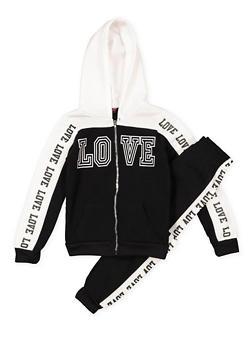 Girls 7-16 Love Graphic Sweatshirt and Sweatpants - 3623038340009