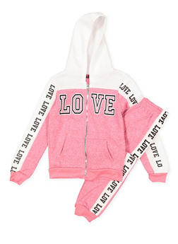 Girls 7-16 Love Graphic Sweatshirt and Sweatpants - 3623038340009