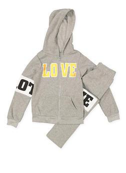 Girls 7-16 Love Graphic Sweatshirt and Sweatpants - 3623038340010
