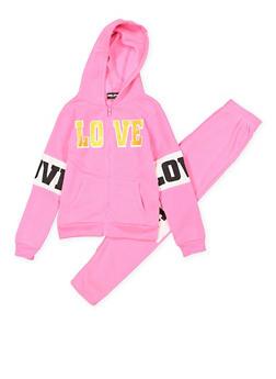 Girls 7-16 Love Graphic Sweatshirt and Sweatpants - 3623038340020