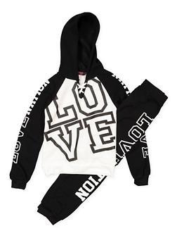 Girls 7-16 Love Color Block Sweatshirt and Sweatpants - 3623038340021