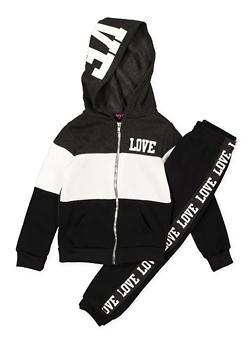 Girls 7-16 Love Color Block Sweatshirt and Joggers - 3623038340023