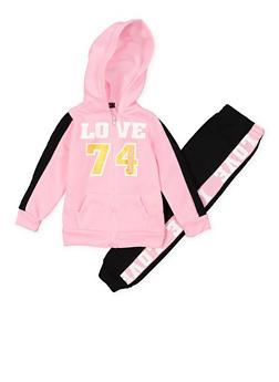 Girls 7-16 Love Zip Sweatshirt and Joggers Set - 3623038340027