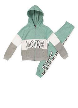 Girls 7-16 Love Color Block Sweatshirt and Sweatpants - 3623038340032