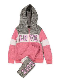 Girls 7-16 Love Hooded Sweatshirt and Joggers Set - 3623038340041