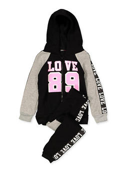 Girls 7-16 Love 89 Hooded Sweatshirt and Joggers Set - 3623038340042