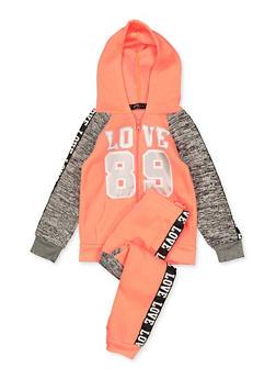 Girls 7-16 Love 89 Hooded Sweatshirt and Joggers Set - 3623038340042