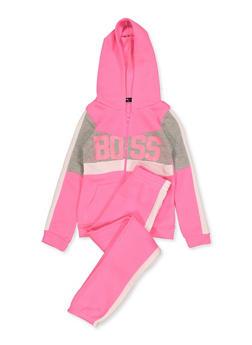 Girls 7-16 Color Block Zip Sweatshirt and Joggers Set - 3623038340043