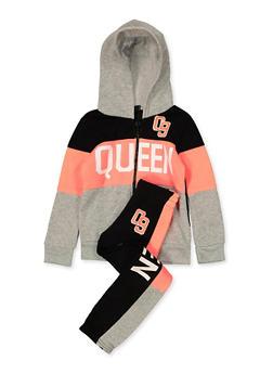 Girls 7-16 Queen 09 Sweatshirt and Sweatpants - 3623038340044