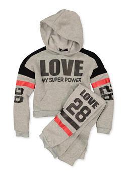 Girls 7-16 Love My Super Power Sweatshirt and Joggers - 3623038340045